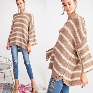 Oversized Stripe Knit Boxy Sweater!